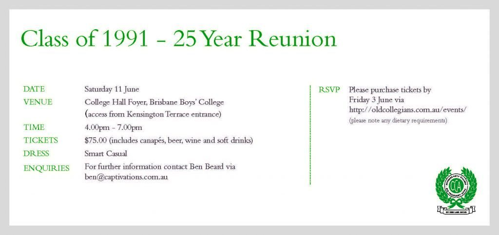 Class of 1991 Reunion Invite